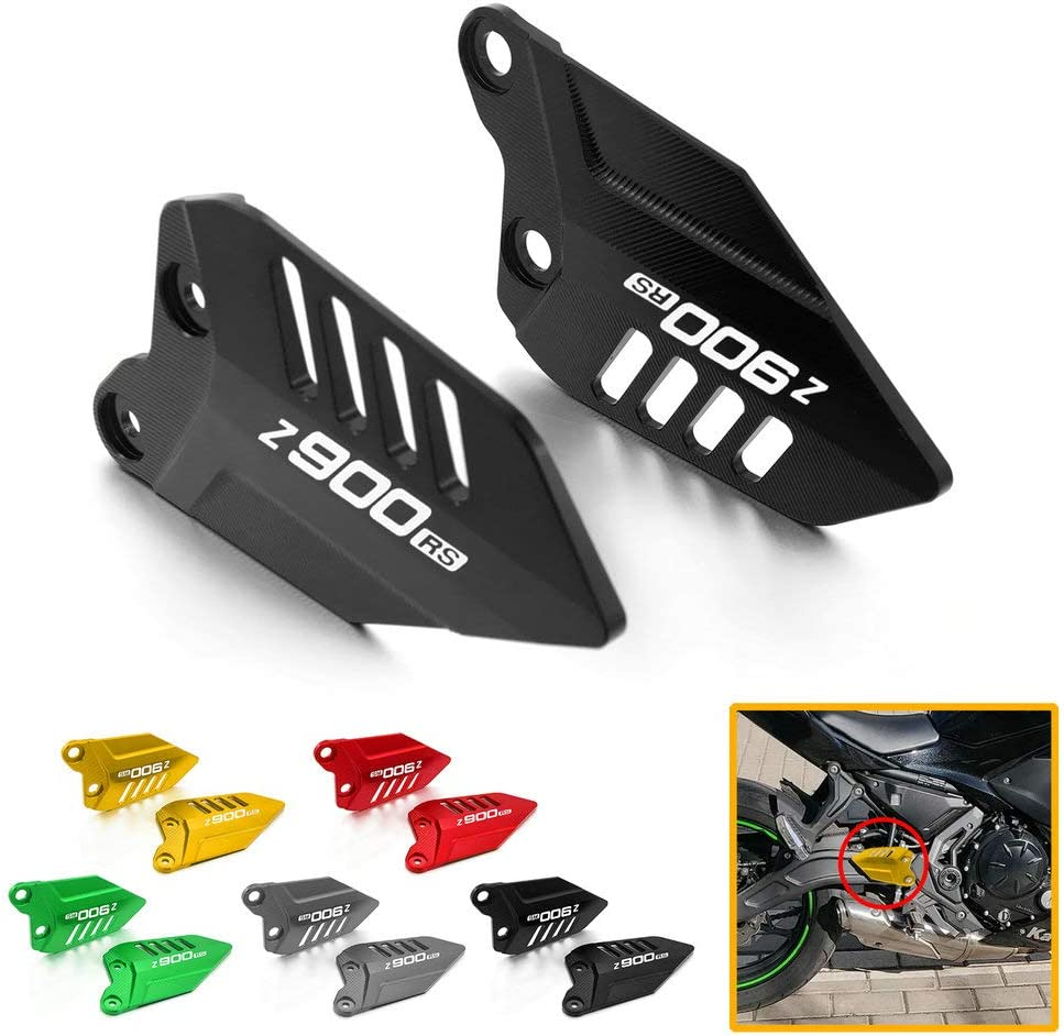 Qidian Motorrad Fußrasten Fußstütze Pedal Hinten Fersenschutz Schutzplatten Flügelabdeckung Für Z900rs Z900 Rs 2017 2020 Zubehör Black Auto