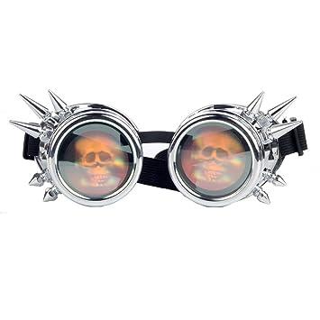 9b0b778e56 OMG _ tienda Steampunk gafas soldadura lente de calavera Cráneo picos  Vintage Cosplay Halloween gafas con lente de calavera, Plateado: Amazon.es:  Deportes y ...