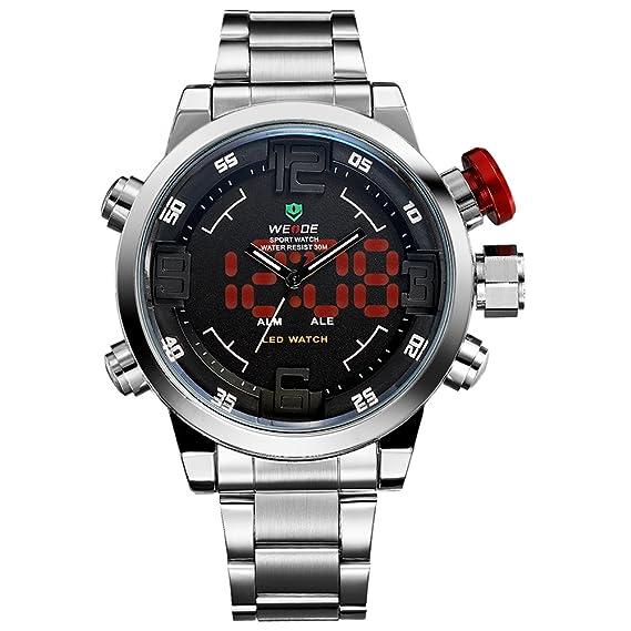 Reloj para hombre, Reloj de pulsera de cuarzo japonés Digital analógico LED de lujo de banda de acero inoxidable, Relojes de moda deportivo multifuncional ...