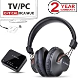 Avantree 2018 HT4189 Wireless Headphones for TV Watching & PC Gaming with Bluetooth Transmitter (OPTICAL DIGITAL Audio, 3.5mm AUX, RCA, PC USB), Plug & Play, No Delay, 100ft Long Range, 40hrs Battery