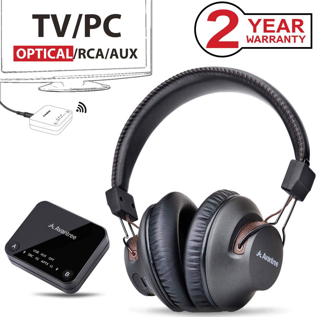2019 Avantree HT4186 Wireless Neckband Headphones Earbuds for TV Watching & PC with Bluetooth Transmitter Set, for Optical Digital Audio, RCA, 3.5mm AUX Ported TVs, Plug & Play, No Delay, Long Range BTHT-4186-BLK