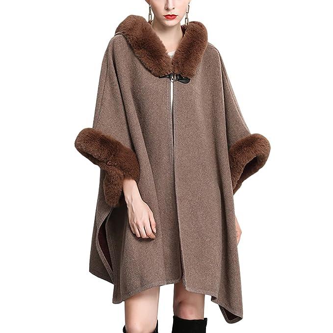 KAXIDY Abrigos Mujer Chaqueta Abrigo Moda Piel de Imitación Ponchos Abrigos para Primavera Otoño e Invierno