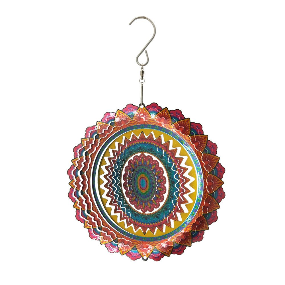 """Fonmy Stainless Steel Wind Spinner-3D, Laser Cut Hand Painted with Color Sparkling Powders, Indoor Outdoor Garden Decoration Crafts Ornaments, Multi Color Mandala -6"""" inch"""