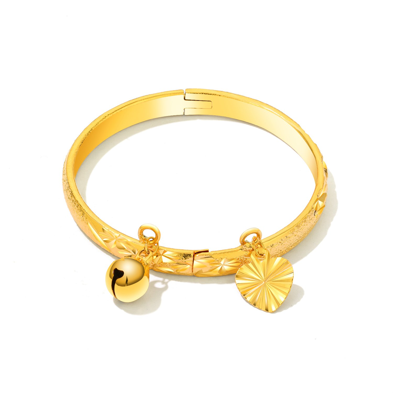 8f606ff60f406 OPK Jewelry Fashion Gold Plated Children's Bangle Heart and Bell Pendant  Cuff Bracelets
