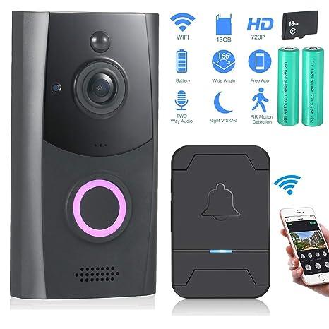 Video Doorbell, Zuzpao [2019] Cámara Seguridad Inalámbrica Wi-Fi Timbre Inteligente 720P