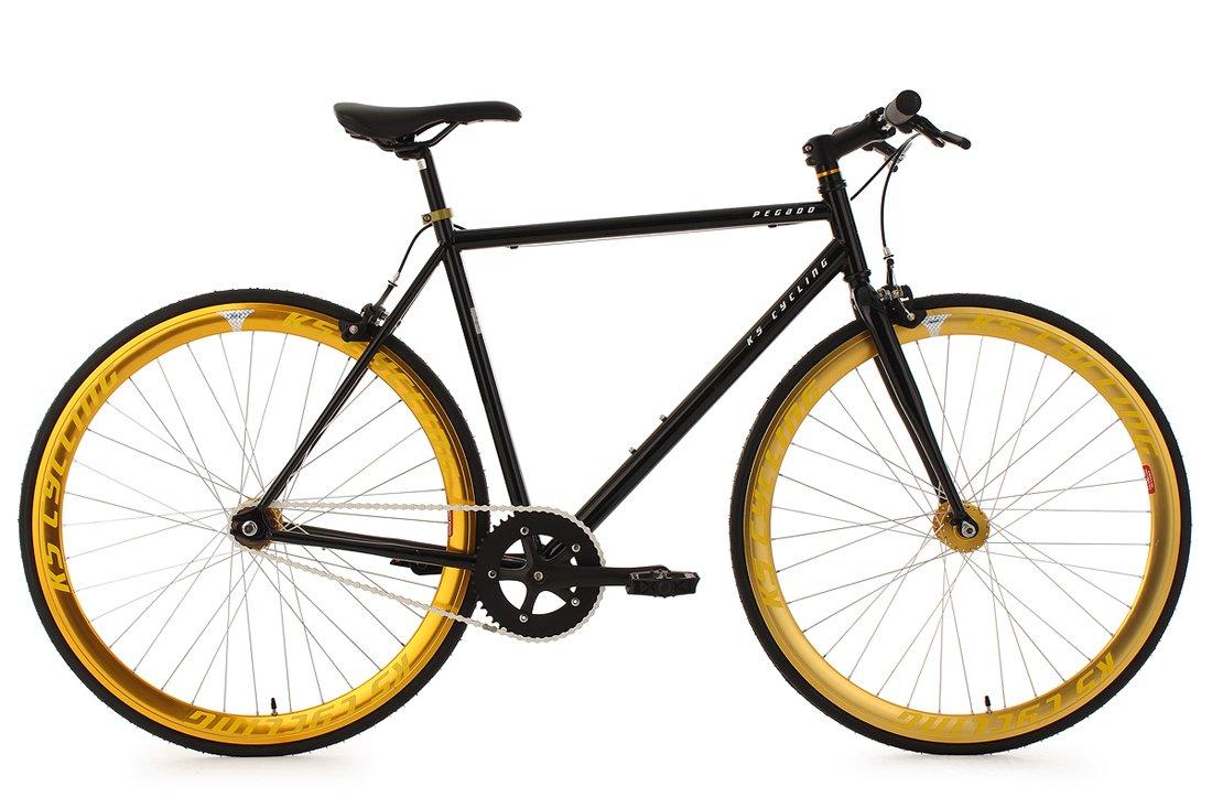 KS Cycling 105R Pegado - Bicicleta de carretera, color negro / amarillo, ruedas 28