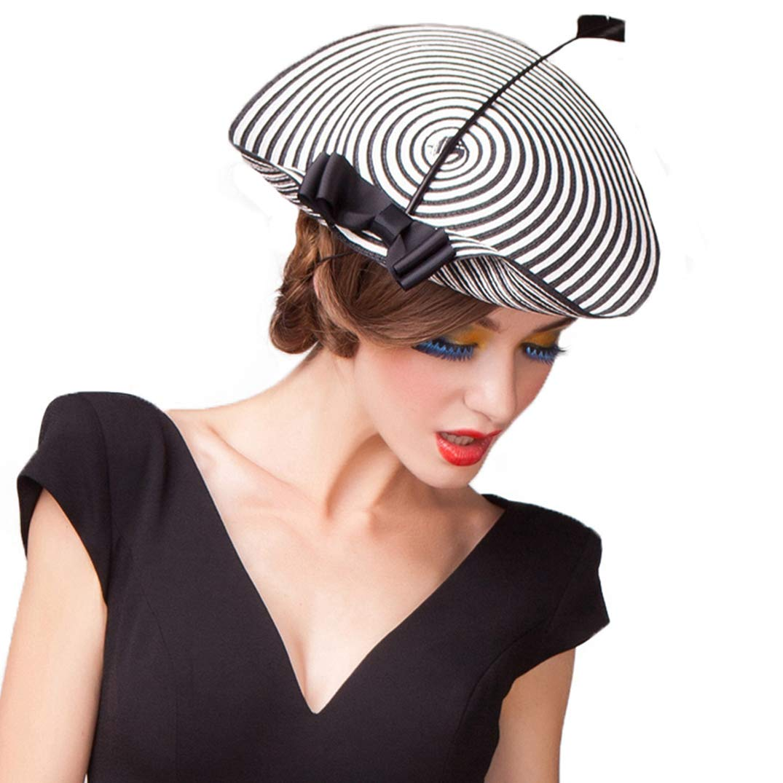 Fascinators Dress Hats for Women Elegant Weddings Pillbox Hat Vintage Formal Church Fedora