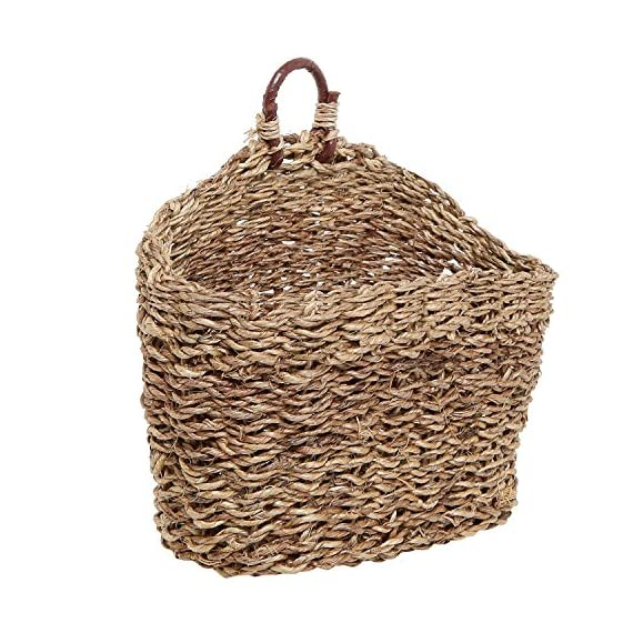MyGift 6.5-Inch Handmade Weave Hanging Storage Basket/Multipurpose Small Indoor Display Bin - A hand-woven rattan storage basket that will bring stylish design to any room in your home. Holds perfectly various household items such as cosmetics, towels, faux plants, keys, pens, pencils and more. Stylish baskets can be used to display dried flowers, or floral or succulent arrangements - living-room-decor, living-room, baskets-storage - 61hiHiV252L. SS570  -