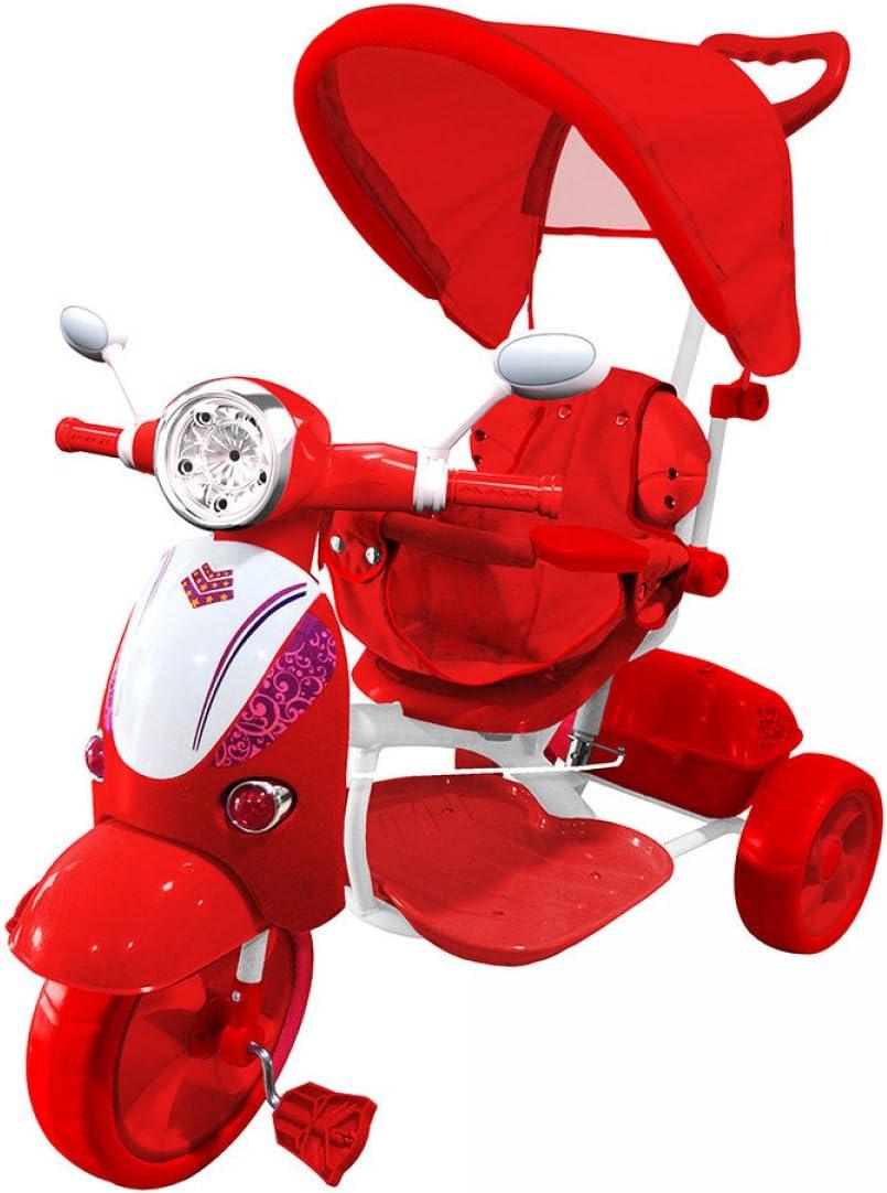 LAMAS TOYS Farano Store - Triciclo VESPINA Rojo con Mango Y Capota