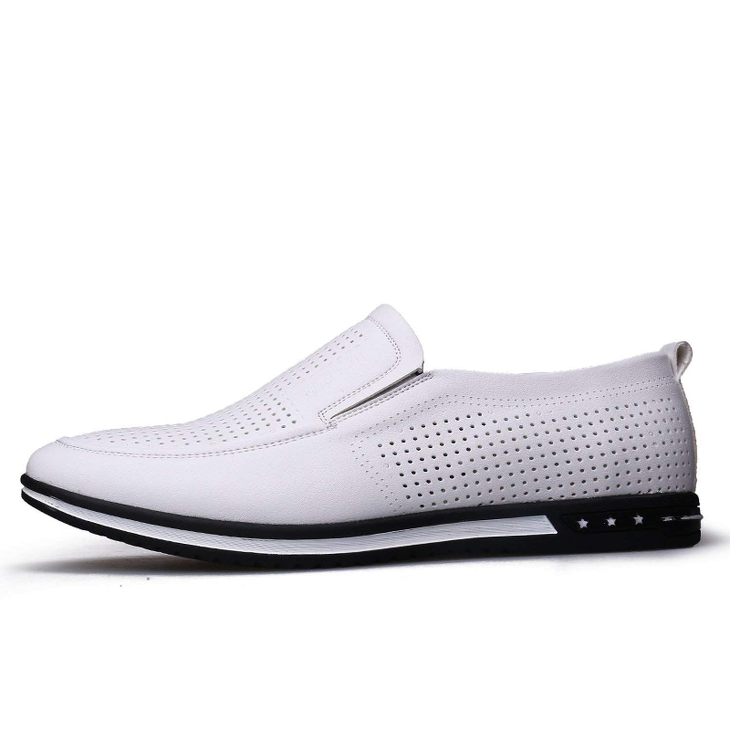 White hollow OH WHY Men's shoes Casual Leather Breathable Slip on Loafers Summer shoes Man Flat Driving shoes