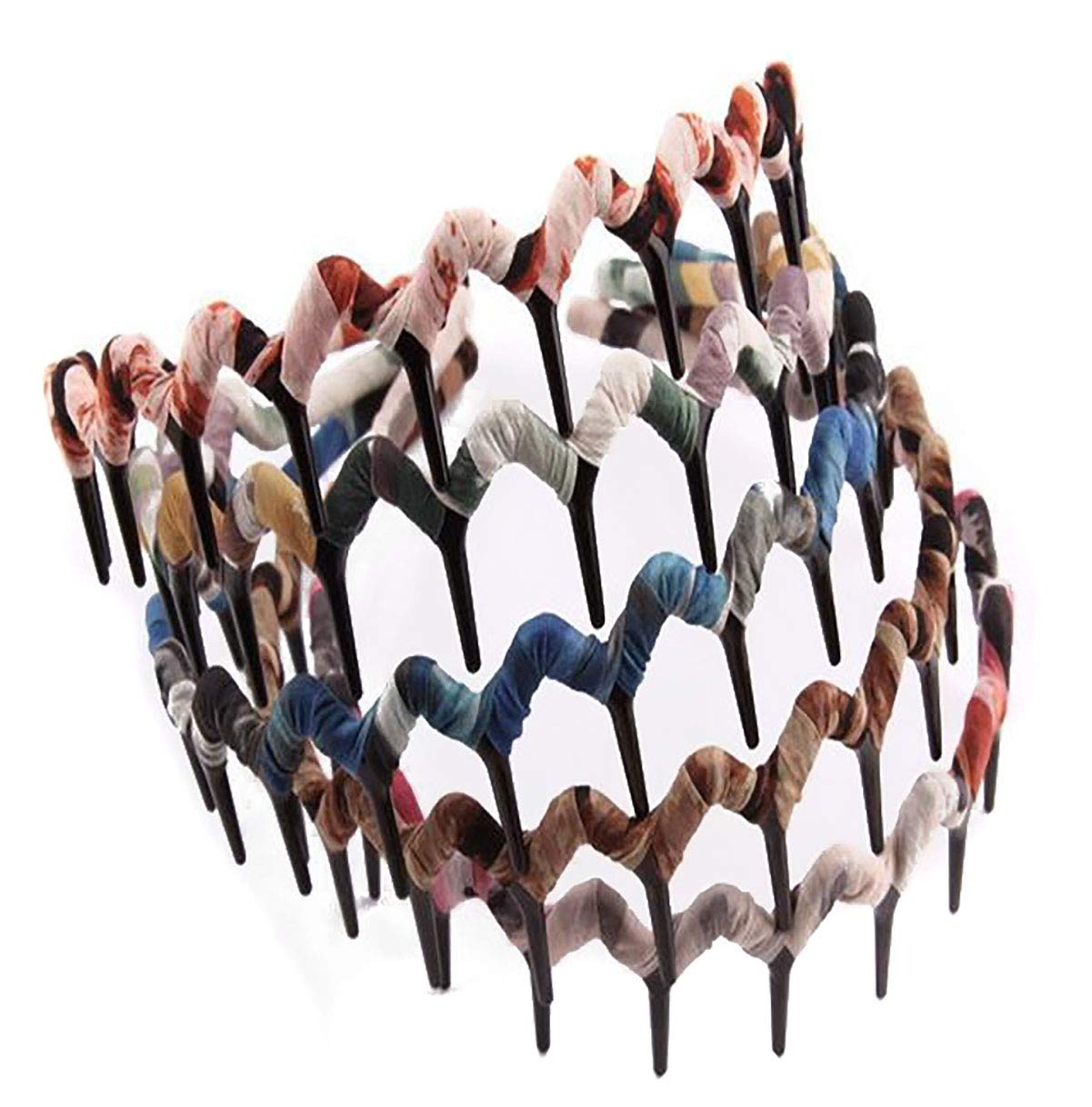 Fodattm 5PCS Bohemia Style Shark Tooth Wrapped Cloth Hairband Plastic Teeth Comb Hair Hoop Headband