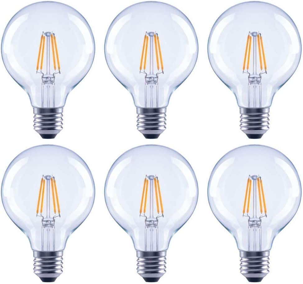 Soft White 6-Pack, Asencia AN-03682 60 Watt Equivalent G25 Globe Clear All Glass Vintage Filament Dimmable LED Light Bulb Renewed