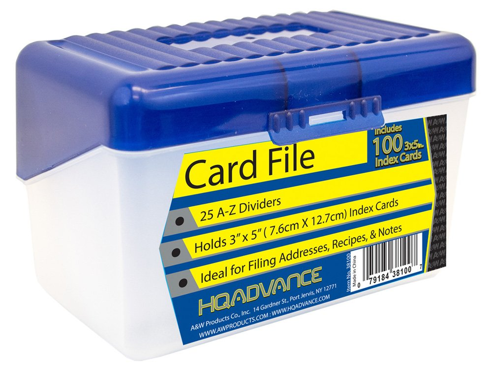 HQ Advance Products Card File Box, A-Z Dividers with 100-Piece 3 x 5 Inch, Lined Index Cards (38100), Assorted