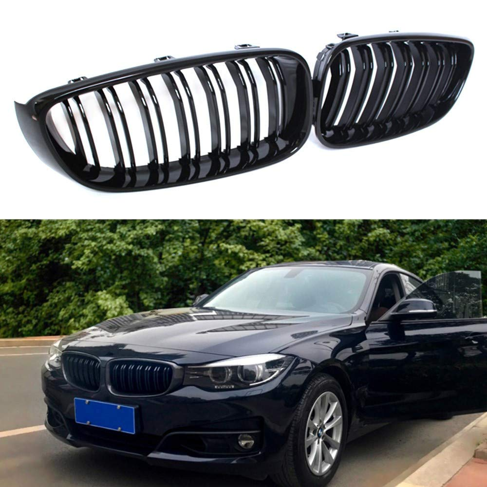 ABS Soyeah Front Replacement Kidney Grille Grill Compatible with BMW 3 Series GT//F34 Glossy Black