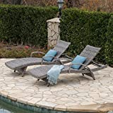 Great Deal Furniture Keira Outdoor Armed Aluminum Framed Grey Wicker Chaise Lounge (Set of 2) For Sale