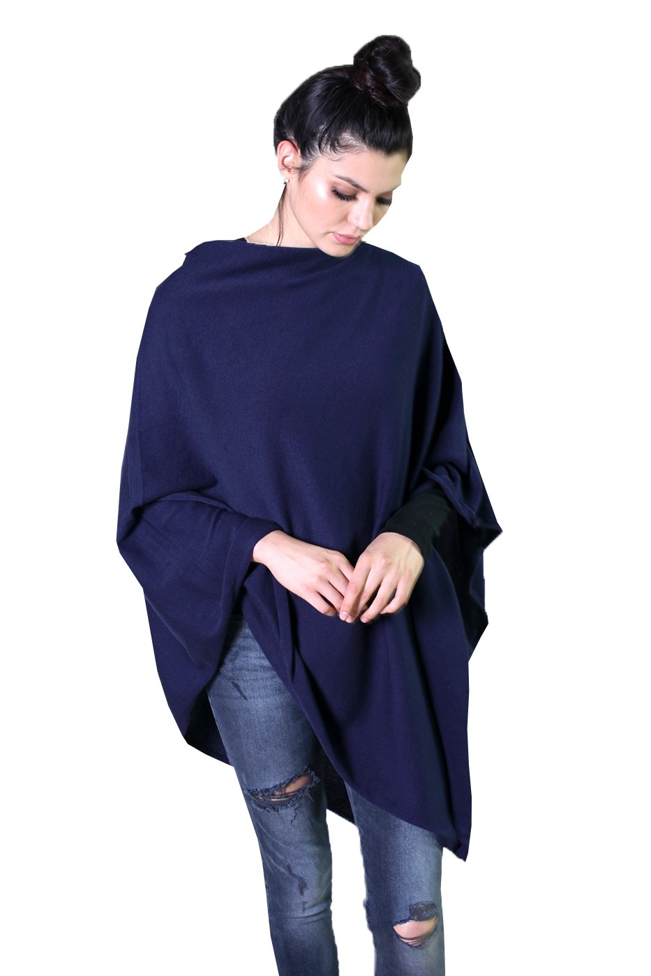 Viverano Organic Cotton 5-Way Solid Poncho Sweater Dress Topper, Soft & Lightweight (Navy Blue)