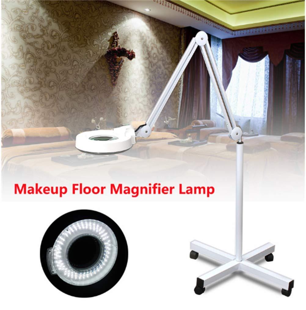 Lampada da terra a lente ingrandimento a 8 Diottrie LED ingrandente con supporto flessibile regolabile a luce fredda per Estetista,White