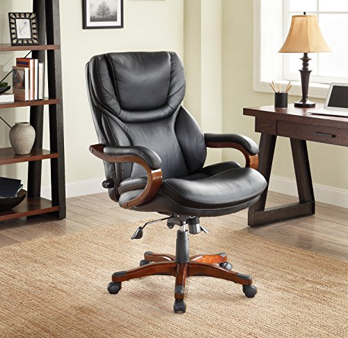 Traditional Leather Executive Chair (Serta Bonded Leather Big & Tall Executive Chair, Brainstorm Black, 46859)