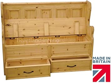 Solid Pine Storage Bench, 4ft Handcrafted U0026 Waxed Monks Bench, Settle, Pew  With