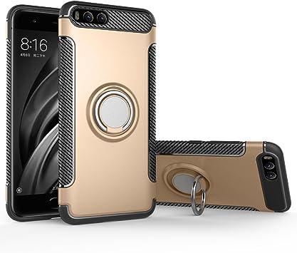 BLUGUL Funda Xiaomi Mi 6, Soporte Giratorio del Anillo de 360 Grados, Compatible con Soporte Coche Magnético, Case Cover para Xiaomi 6 Oro: Amazon.es: Electrónica