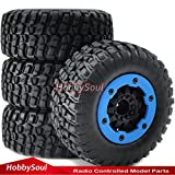 4x4 truck tires - 4pcs 1/10 RC 2.2/3.0 Short Course Tires & Hex 12mm Beadlock Wheels Blue color plastice Rims