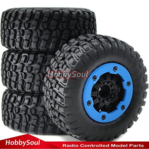 4pcs 1/10 RC 2.2/3.0 Short Course Tires & Hex 12mm Beadlock Wheels Blue color plastice Rims