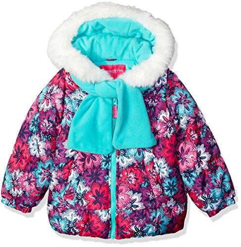 London Fog Girls' Toddler Puffer Jacket with Scarf & Hat, Fl