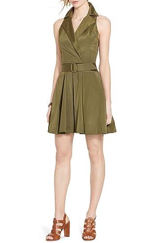 Lauren Ralph Lauren Women's Belted Taffeta Shirtdress in New Olive