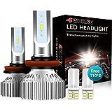 4WDKING H11 LED Headlight Bulbs - Fanless Super Bright Low Beam Fog Light 60W 8000LM 6500K Cool White High Beam H8/H9 Convers