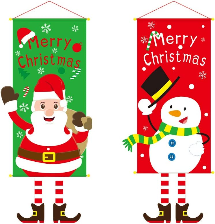 2 Pack Christmas Hanging Cloth Flag,Seasonal Fabric Wall Hanging Holiday Décor Door Window Decorations for Christmas Ornament,Santa Claus & Christmas Snowman