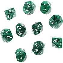 10pcs Juegos de Mesa Dados de Diez Caras 0~9 D & D TRPG - Verde: Amazon.es: Juguetes y juegos