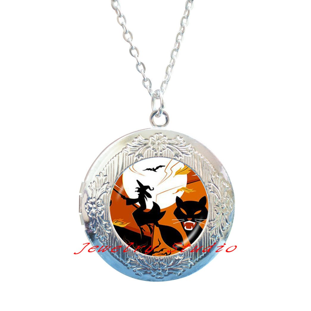 Charming fashion Locket Necklace,Halloween Witch Locket Necklace children accessories black cat bat jewelry glass dome Locket Pendant full moon Locket Necklace-HZ00167