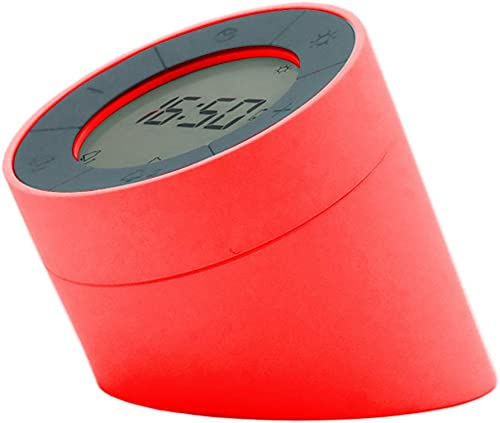 Gingko Electronic Alarm Clock Modern Design with Motion Activated Modes Soft Dimmable Light with USB Adaptor Cable, Edge, Red
