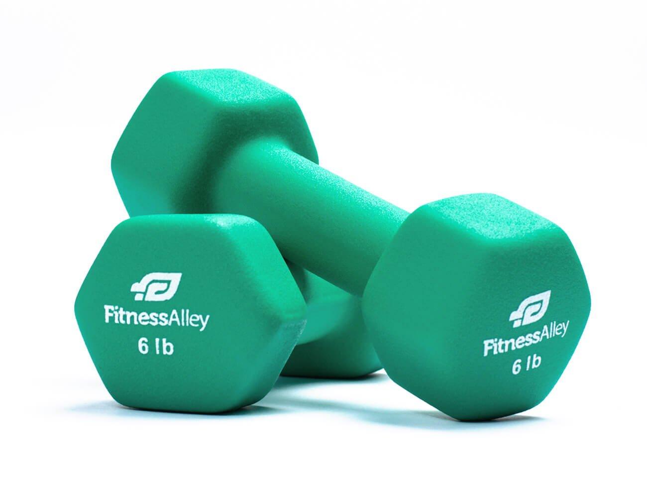 Fitness Alley 6lb Neoprene Dumbbell Set Coated for Non Slip Grip - Hex Dumbbells Weight Set - Hand weights set - Neoprene weight pairs - Hex Hand Weights - Set of two Neoprene Dumbbells, 6 lb - Green