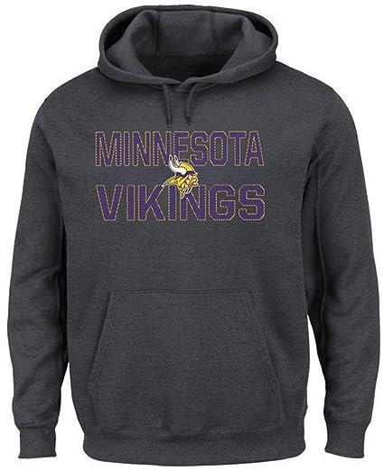 fc5cc64af Majestic Minnesota Vikings NFL Mens Kick Return Hoodie Charcoal Big   Tall  Sizes ...