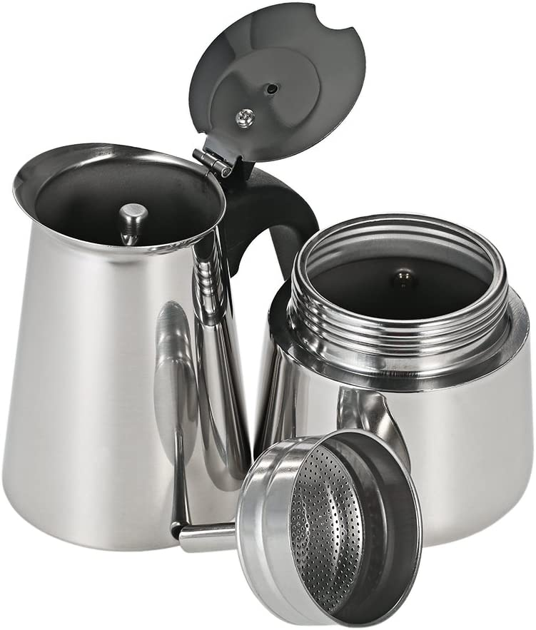 Stainless Steel Espresso Percolator Coffee Stovetop Maker Mocha Pot for Use on Induction Cooker 200ml
