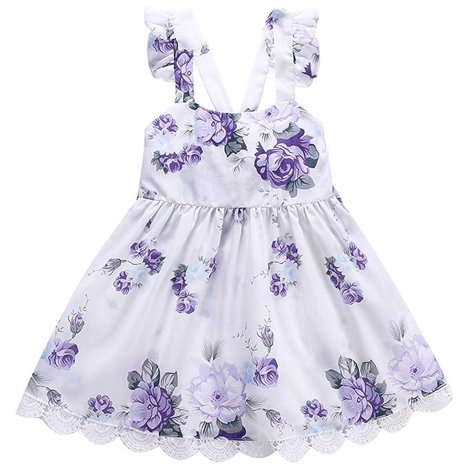 Amazon.com: Vestido de niña con flor de color morado para ...