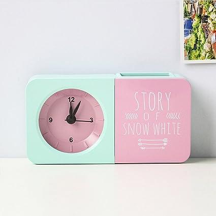 HZF-Penholder, reloj alarma, Creative portalápices, color, reloj con alarma despertador