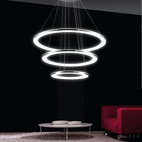 Lámpara Colgante de Techo,LED Araña Iluminación Luz Interior Pendiente Control Remoto 3*DIY Anillos 96W Brillo y Altura Ajustable Material de Acrílico ...