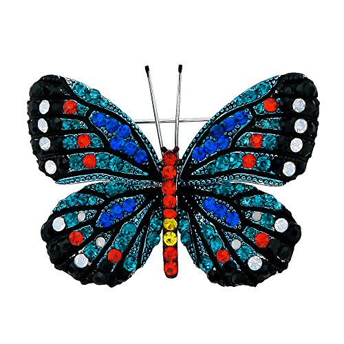 DMI Gorgeous Crystal Jewelry Silver-Plated Alloy Colorful Rhinestone Enameled Butterfly Brooch Pin Blue