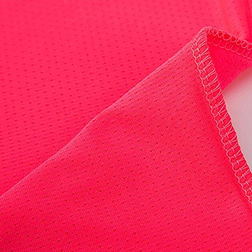 BeFur Camiseta unisex de cuello redondo de manga corta de secado rápido y elástica para carrera y fortalecer el cuerpo fucsia (M) y verdemar(H)