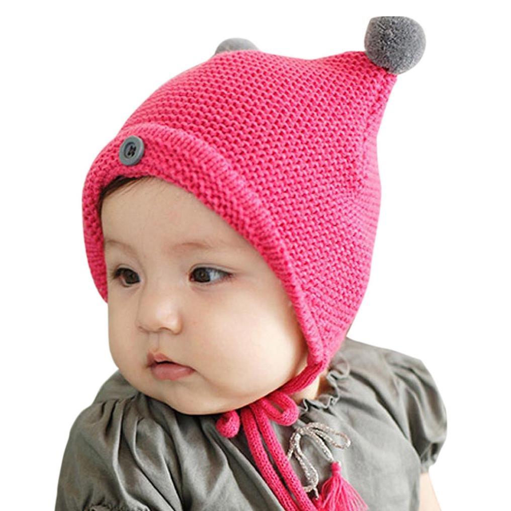 Gorras para bebé, Bluetercool linda Niño Niña bebé capsuló casquillo caliente del invierno sombrero Tejido SB-1222