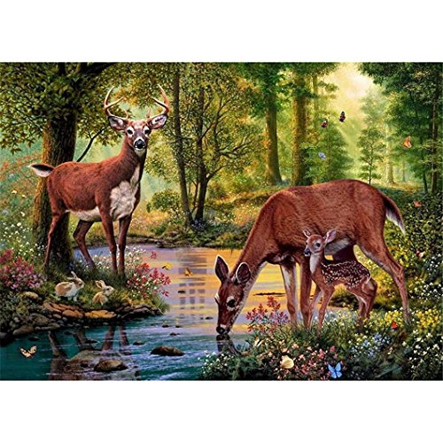 (Mazixun 5D DIY Diamond Mosaic Diamond Embroidery Deer in The Forest Drinking Water Embroidered Cross Stitch Home Decoration Gift )