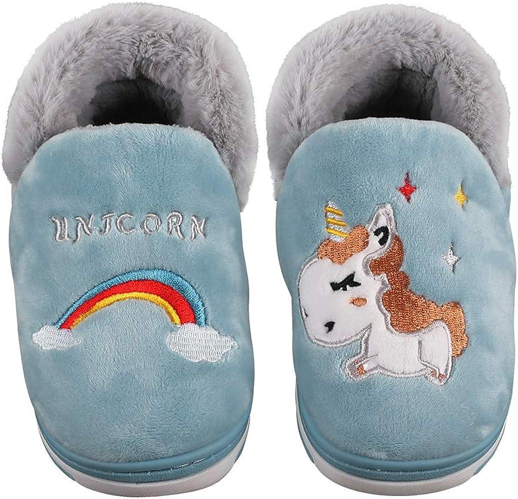 Kqpoinw Zapatillas de Estar por Casa para Niñas, Unisex-Niños Invierno Zapatillas Interior Casa Caliente Antideslizante Unicornio Niñas Zapatillas (20/21 EU, Azul-01): Amazon.es: Zapatos y complementos