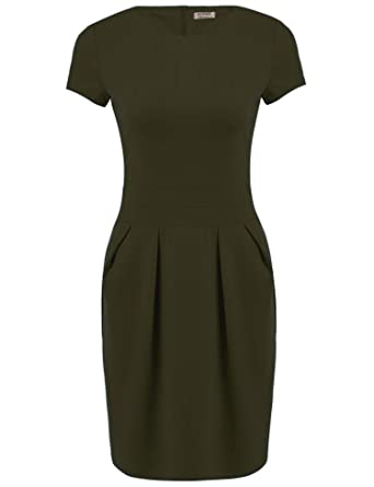 76d47d8cef ACEVOG Women's Work Dress Official Wear to Work Retro Business Bodycon Pencil  Dress Army Green