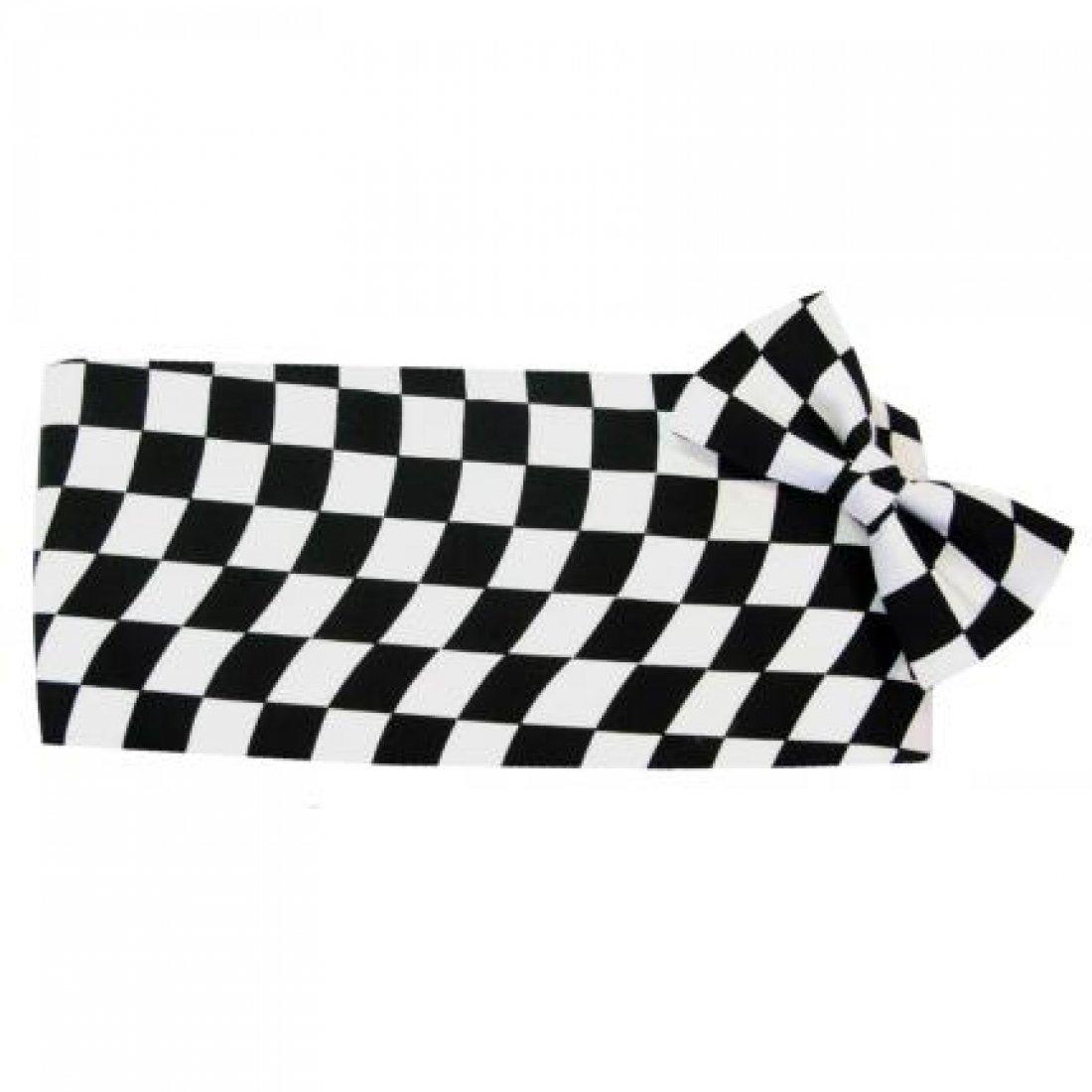 Wavy Victory Racing Flag Tuxedo Cummerbund and Bow Tie by David's Formal Wear