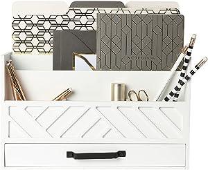 Blu Monaco White Wood Desk Organizer with Drawer - Bill Mail Storage Organizer and Sorter for Storage, Countertop and Kitchen