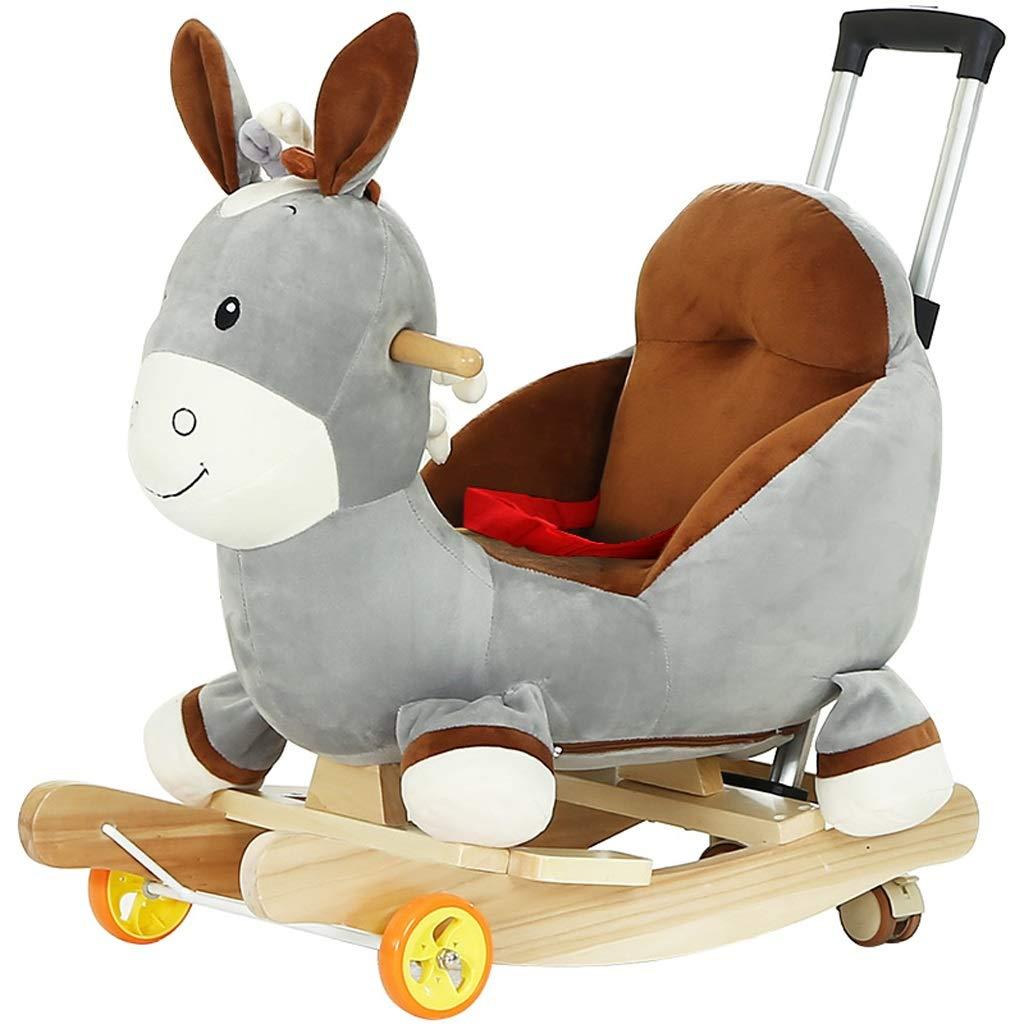 Cavallo a Dondolo Sedia a dondolo per bambini Musica per bambini Giocattolo di Troia per bambini Passeggini per bambini Cute Wooden Shake Cavallo in legno massello Carrello per culla Gioco Interattivo