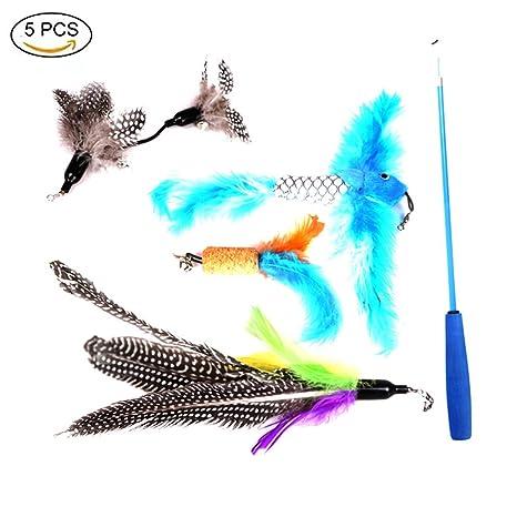 YUNQI Juguete de plumas de gato, varita de juguete para gatos, 5 piezas retráctiles