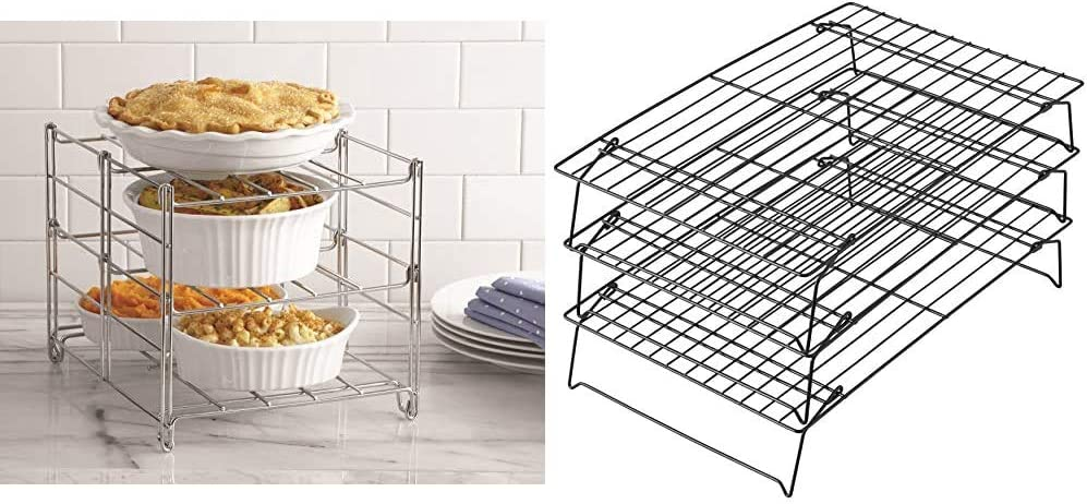 Betty Crocker 3-tier Oven Rack & Wilton Excelle Elite 3-Tier Cooling Rack for Cookies, Cakes and More